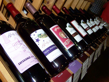 Wines in a display rack